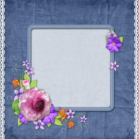 wedding photo frame: Blue textured background with a frame for the photo or text and with flowers