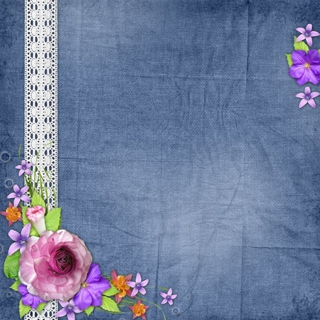 album greetings: Blue textured background with flowers  and lace Stock Photo