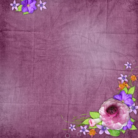 the old days: Purple  textured background with  flowers  Stock Photo