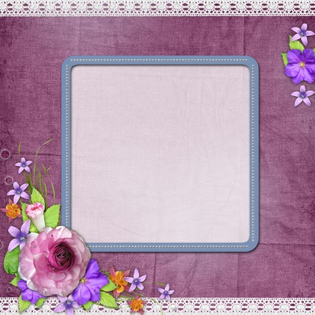 wedding photo album: Purple textured background with a frame for the photo or text and with flowers  Stock Photo