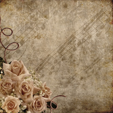 sound card: Wedding Day background with roses and notes  Stock Photo