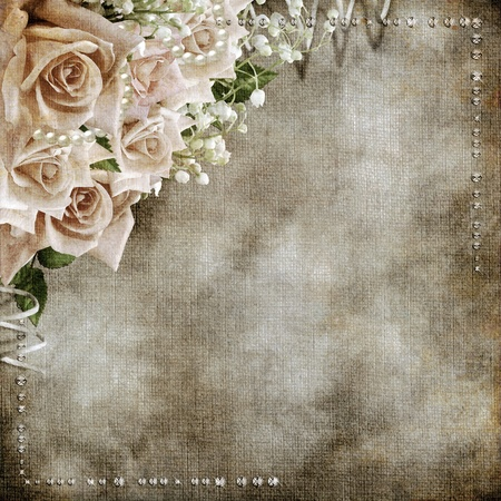 postcard background: Wedding vintage romantic background with roses