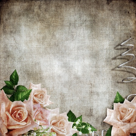 wedding frame: Wedding vintage romantic background with roses