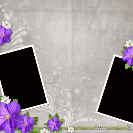 Card for congratulation or invitation with 2 frames and flowers photo