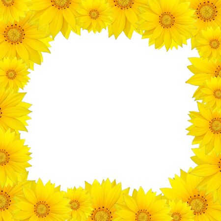 Flowers frame with yellow sunflower isolated on white background photo