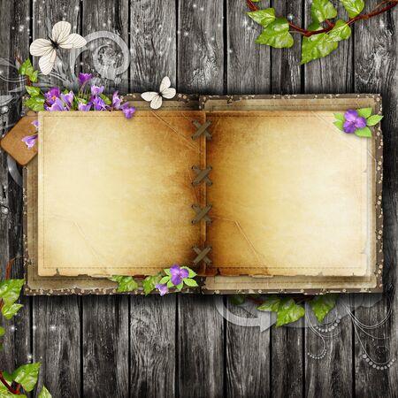 mariposas amarillas: Abrir libro en blanco de la vendimia en la mesa de madera