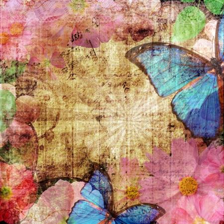 blue butterfly: de fondo de la vendimia con la mariposa Foto de archivo