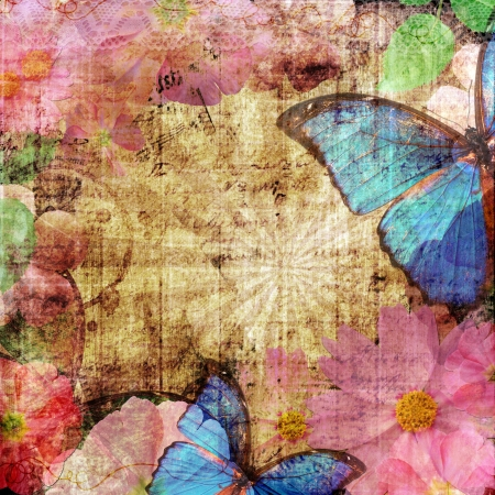 butterfly border: vintage background  with butterfly