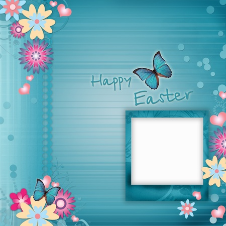 Happy Easter Greeting Card With Flowers, Hearts photo