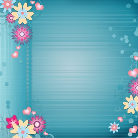 Greeting card background with flowers , hearts Stock Photo - 12510009