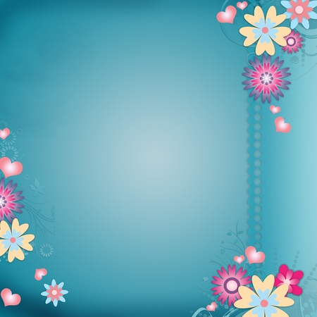 Greeting card background with flowers, hearts Stock Photo - 12510006