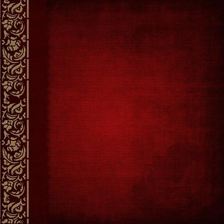 scrapbook cover: La cubierta del �lbum de fotos de color rojo con oro adornado Foto de archivo
