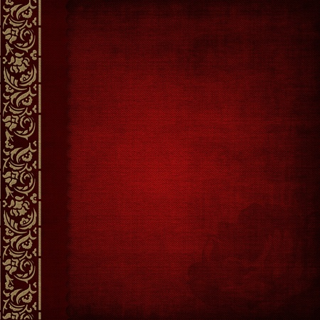 scrapbook cover: Photo album -red cover with gold ornate