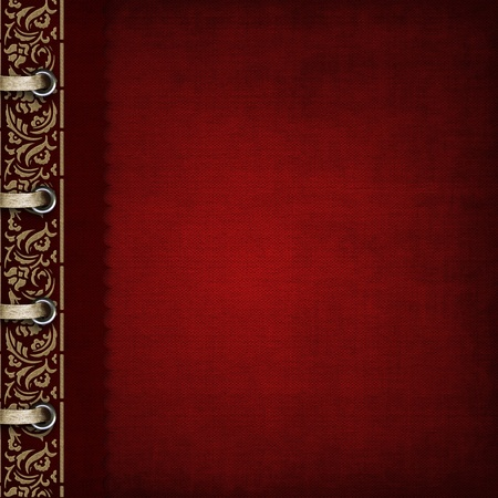 Photo album - red cover with bronzed ornate  photo