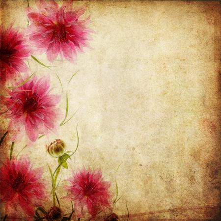 birthday flowers: Oud papier achtergrond met roze bloemen