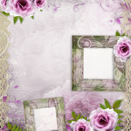 beautiful wedding background with frames and purple roses photo