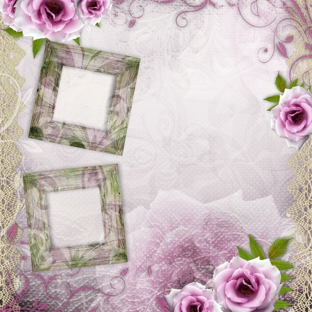 White beautiful wedding background with purple roses and frames photo