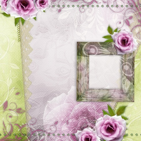 beautiful wedding background in green and purple with wooden frame and roses photo