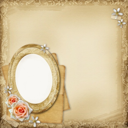 ancient photo album page background with  oval frame and roses photo