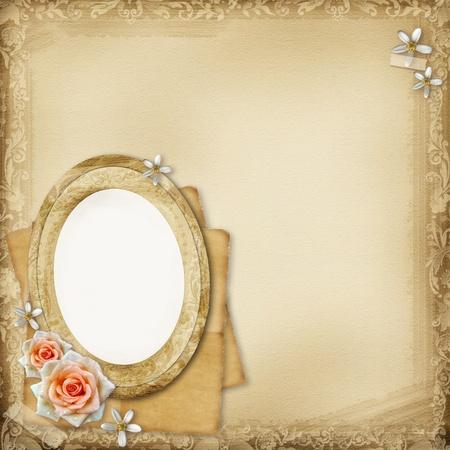 an oval: álbum de fotos de la antigua página de fondo con marco oval y rosas Foto de archivo