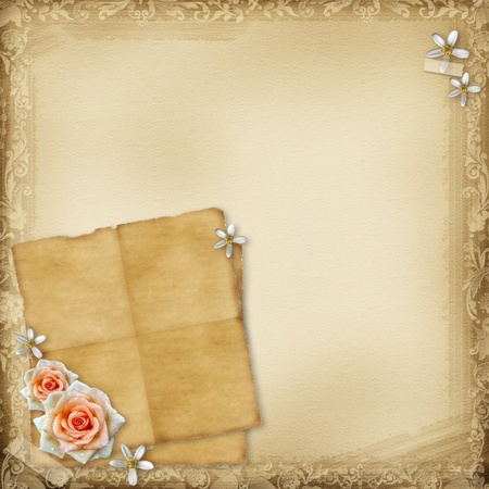 Ancient  background with old  paper  and rose photo