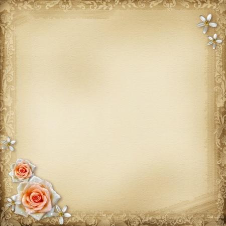 scrap: Ancien arri�re-plan avec le vieux papier et de rose Banque d'images