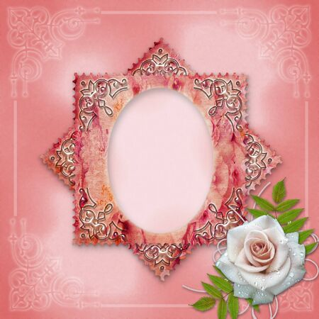 vintage frame with rose Stock Photo - 13091971