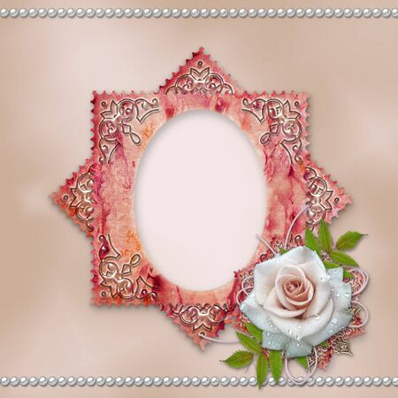 vintage frame with rose  photo