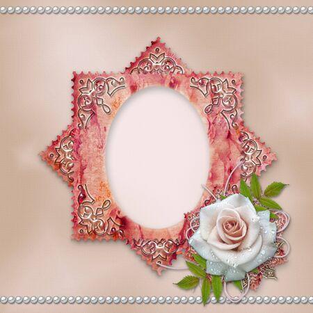 vintage frame with rose  photo