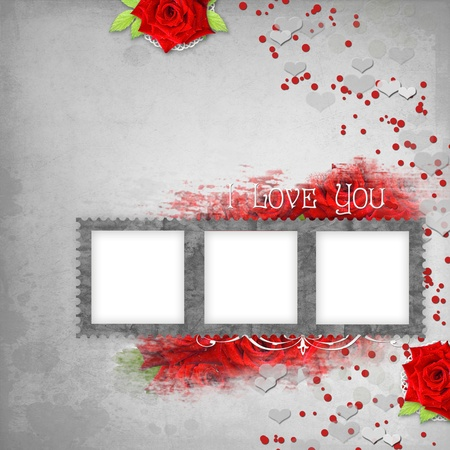 retro background with stamp-frame, hearts, text I love you, red roses photo