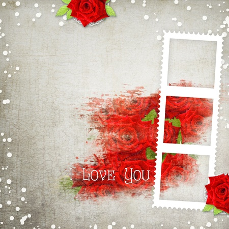 retro background with hearts, text I love you, red roses photo
