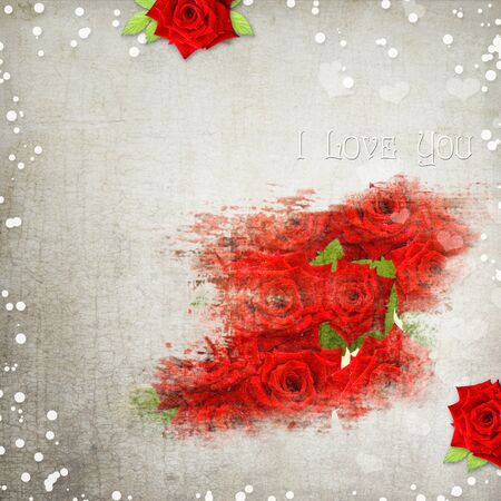 royal family: retro background with hearts, text I love you, red roses