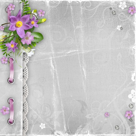 vintage paper album cover with spring flowers  photo