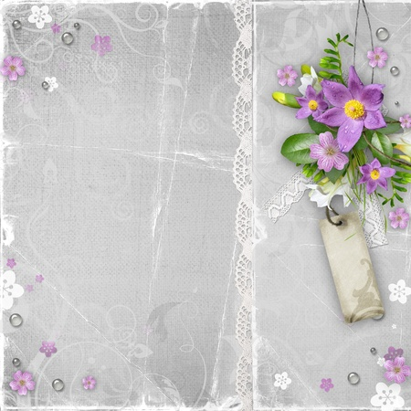 wedding photo album: vintage paper textured background with flowers