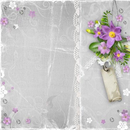 vintage papier geweven achtergrond met bloemen Stockfoto