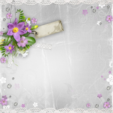 vintage paper textured background with flowers