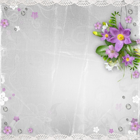 vintage paper textured background with flowers photo