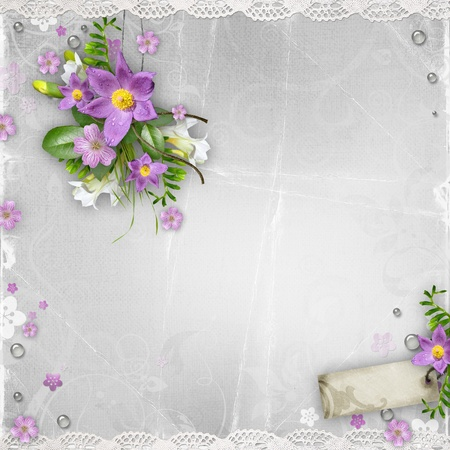 wedding photo frame: vintage paper background with spring flowers on textured background