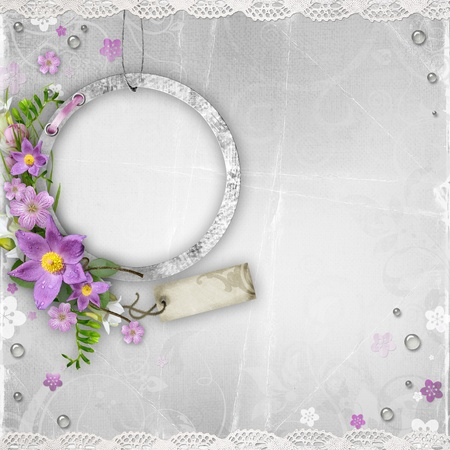 album background: vintage paper photo frame with spring flowers on textured background Stock Photo
