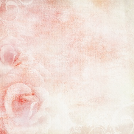 grunge textures: pink wedding background with roses