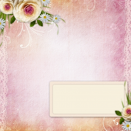Pink Texture Background with  frame, roses photo