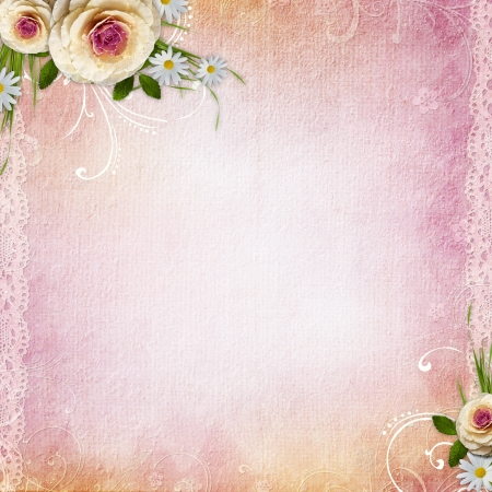 Pink Texture Background with roses photo