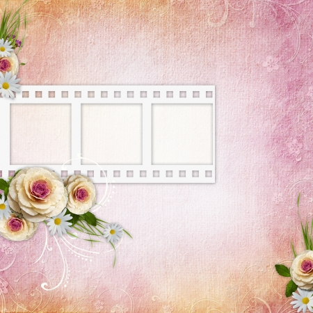 Pink Texture Background with film stripe frame, roses photo
