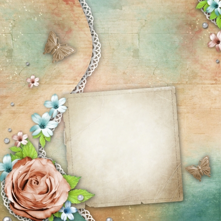 album cover: vintage textured background with a bouquet of flowers, lace and pearls