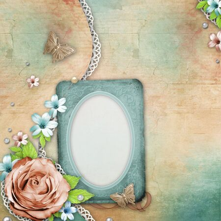 vintage textured background with  frame, a bouquet of flowers, lace and pearls photo