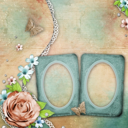 vintage textured background with frames, a bouquet of flowers, lace and pearls photo