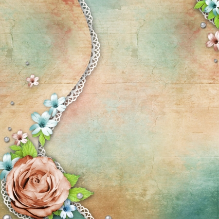 vintage textured background with a bouquet of flowers, lace and pearls Stock Photo - 14119358