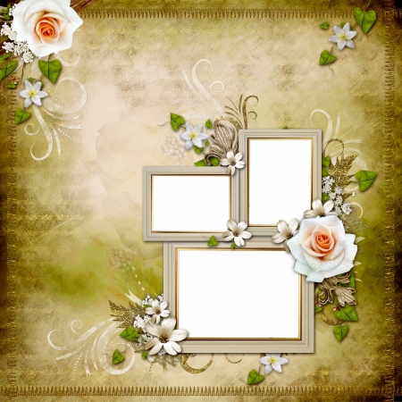 wedding photo album: Vintage background with 3 frames and roses  Stock Photo