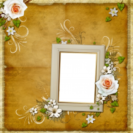 royal family: Vintage background with frame and roses