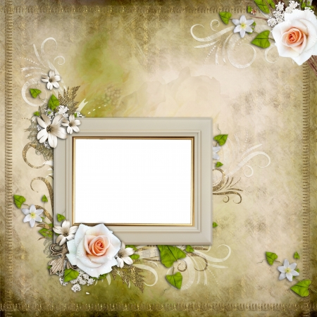 photoalbum: Vintage background with  frame and roses  Stock Photo